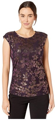 Calvin Klein Sleeveless Floral Metallic Top (Aubergine) Women's Clothing