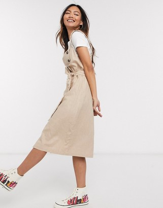 Gilli button down midi dress with tie waist detail in taupe