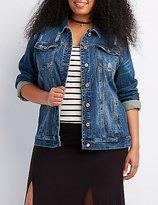 Charlotte Russe Plus Size Refuge Distressed Denim Jacket