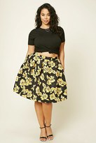 Forever 21 FOREVER 21+ Plus Size Pleated Floral Skirt