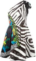 Marc Jacobs multi-pattern one shoulder dress - women - Silk/Polyester/Triacetate - 4