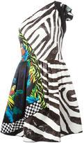 Marc Jacobs multi-pattern one shoulder dress - women - Triacetate/Polyester/Silk - 4