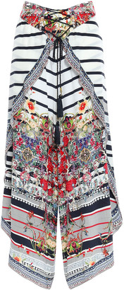 Camilla Joie De Vivre Asymmetric Embellished Printed Silk Crepe De Chine Culottes