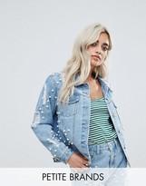 Glamorous Petite Allover Embellished Denim Jacket