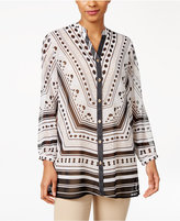 JM Collection Sheer Printed Blouse, Only at Macy's