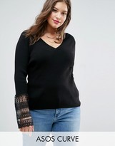 Asos Sweater With V Neck And Lace Bell Sleeve