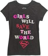 "Superman Supergirl Girls' ""Girls Will Save the World"" Short Sleeve Crew Neck Graphic Tee"