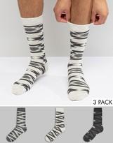 Asos Socks With Monochrome Geo-Tribal Design 3 Pack