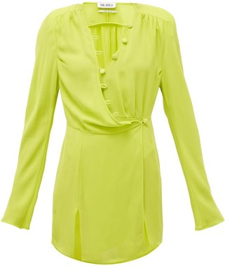 ATTICO Button-through Crepe Wrap Dress - Light Green