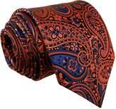 Shlax & Wing Extra Long Size Necktie Paisley Blue Navy Orange Men Tie Jacquard Weave