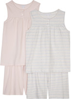 The Little White Company Striped and plain cotton pyjamas pack of two 6-12 years