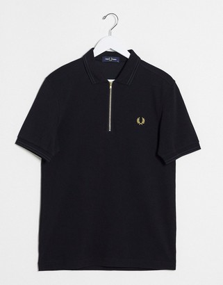 Fred Perry half zip polo in black