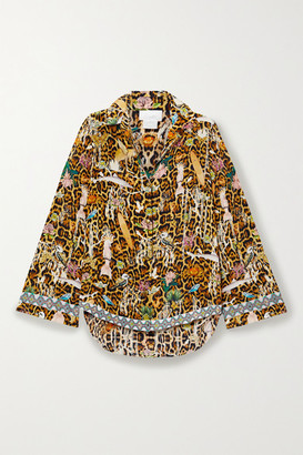 Camilla Crystal-embellished Printed Washed-silk Shirt