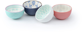 Signature Housewares Blue & Coral Geometric 12-Oz. Bowls - Set of Four