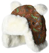 UGG Suede Trapper with Ears and Sherpa Lining Hat (Toddler/Little Kids) (Chestnut Graffiti) Caps