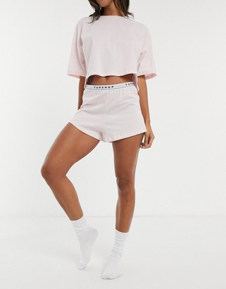 Topshop boxy branded pyjama set in blush