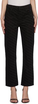 Alexander Wang Logo print slim velvet jeans