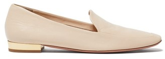 Aquazzura Greenwich Smooth Leather Loafers - Cream