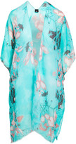 Lvs Collections LVS Collections Women's Kimono Cardigans TEAL - Teal Floral Cape-Sleeve Kimono - Women