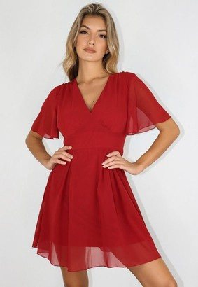 Missguided Burgundy V Neck Flutter Sleeve Skater Dress