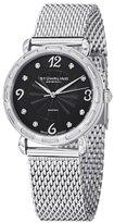 Stuhrling Original Women's 736.02 Audrey Soiree Couture Swiss Quartz Genuine Diamond Black Dial Mesh Bracelet Watch
