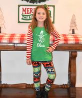 Beary Basics Green Snowman Personalized Tee & Leggings - Toddler & Girls