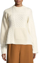 Sacai Patchwork Cable-Knit Sweater, White