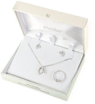 Evoke Sterling Silver Swarovski Crystal Interlocking Leaf Stud Earrings, Pendant and Ring Set