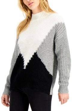 Hooked Up by IOT Juniors' Colorblocked Mock Neck Sweater