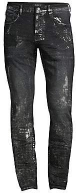 Silver Jeans Purple Brand Men's P001 Slim-Fit Metallic