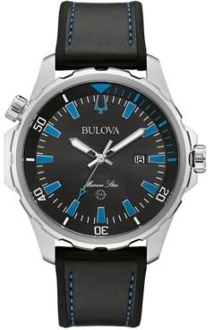 Bulova Men's Marine Star Black Silicone & Leather Strap Watch 43mm