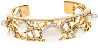 Aigner Crystal Faux Pearl Gold Tone Open Cuff Bracelet