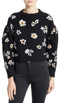 Rebecca Taylor Brushed Floral Wool Blend Sweater