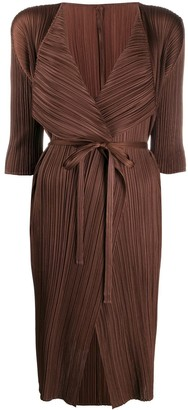 Pleats Please Issey Miyake Pleated Tie-Fastening Midi Dress