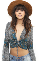 West Coast Wardrobe Seafarer Bell Sleeve Tie Front Top in Print