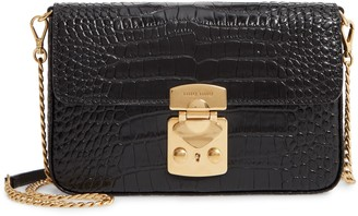 Miu Miu Croc Embossed Calfskin Leather Crossbody Bag