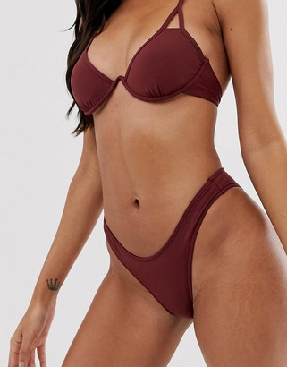 Seafolly high leg bikini bottom in plum-Purple