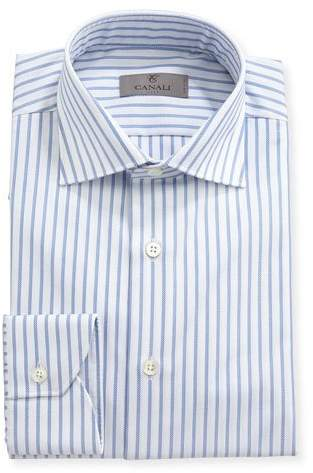 Canali Impeccabile Oxford-Stripe Dress Shirt, White
