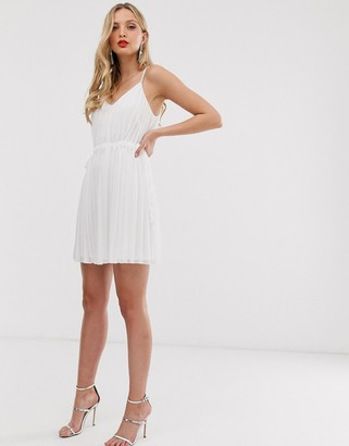 Asos Design DESIGN pleated cami mini dress with ruched waist-White
