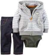 Carter's 3 Piece Cardigan Set (Baby) - Gray Stripe-18 Months