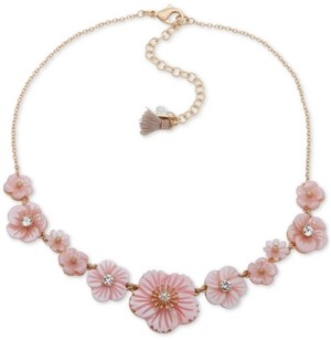 """lonna & lilly Gold-Tone Crystal Flower Collar Necklace, 16"""" + 3"""" extender"""