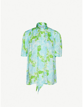 Balenciaga Floral-print oversized-fit silk shirt