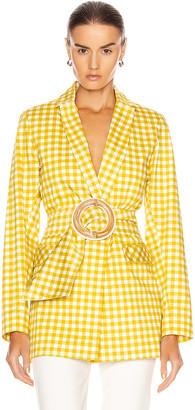 Silvia Tcherassi Gayane Jacket in Citron Gingham   FWRD