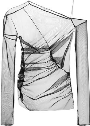 Nensi Dojaka Mesh Off-Shoulder Blouse
