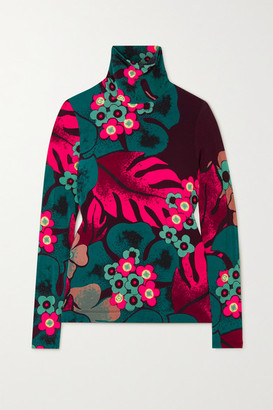 Dries Van Noten Floral-print Stretch-jersey Turtleneck Top - Fuchsia