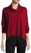 Eileen Fisher Cowl-Neck Box Top, Dark Pearl, Petite
