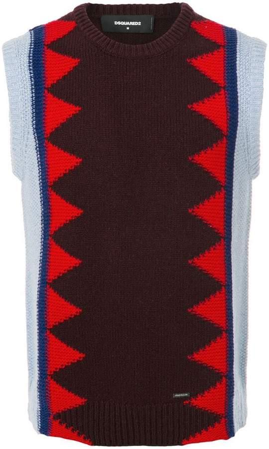 DSQUARED2 contrast knit patterned gilet