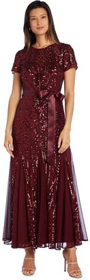 R & M Richards R&M Richards Embellished Maxi Dress with SatinWaist Tie