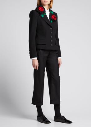 Dolce & Gabbana 3D Floral Peplum Wool-Blend Jacket