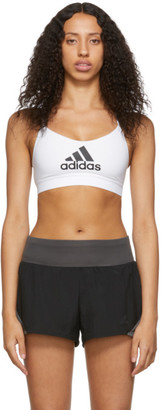 adidas White All Me Badge of Sport Sports Bra